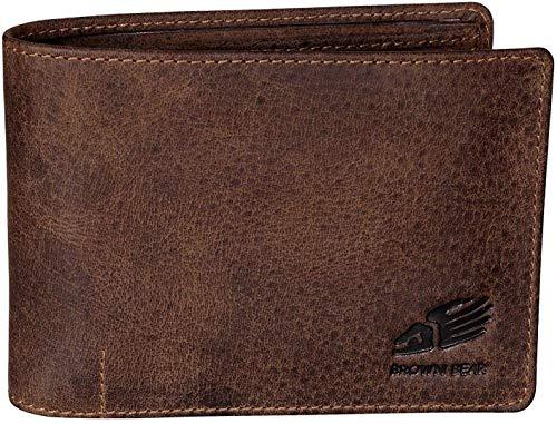 Brown Bear Geldbörse Herren Leder Braun Vintage Querformat RFID Schutz Blocker Used Look hochwertig...