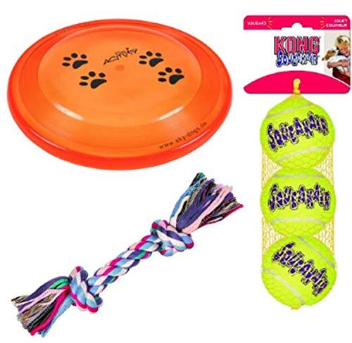Trixie Hundespielzeug-Set mit Spielscheibe, Denta Fun Baumwoll-Mix Spielseil und Kong Airdog...