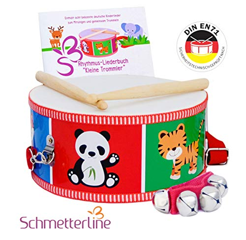 SCHMETTERLINE® Trommel für Kinder aus Holz - Musikinstrument für Kinder ab 3 Jahre -...