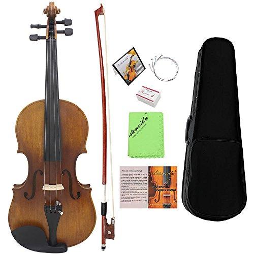 ammoon Violin 4/4 Geige Voll Größe Matt Fertig Fichte Gesicht Board Ebenholz Griffbrett 4-saitiges...