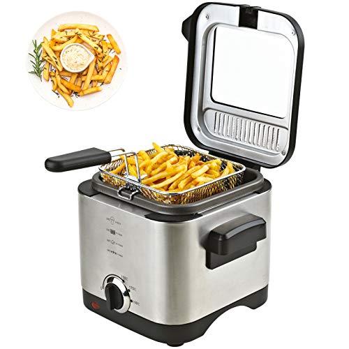 Friteuse 1,5 Liter Fritöse inklusive Filter 900 Watt Fritteuse EDELSTAHL für Pommes,...