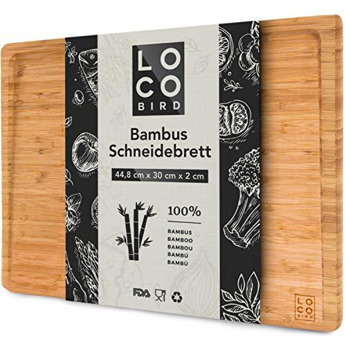 Loco Bird massives Bambus Schneidebrett mit Saftrille - 44,8x30x2 cm großes Holz-Brett für die...