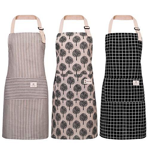 Veraing 3 Stück Schürze, Baumwolle Leinen Kochschürze Wasserdicht Verstellbare Küchenschürze...