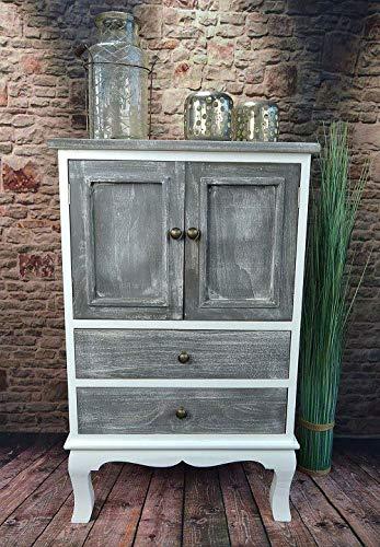 Livitat® Kommode Schrank Landhaus 80 x 50 cm Shabby Chic Vintage barock Grau LV1094