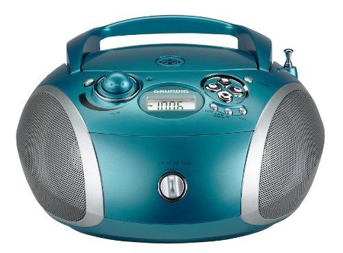Grundig RCD 1445 Radio (USB 2.0) mit CD/-MP3/-WMA Wiedergabe türkis/silber