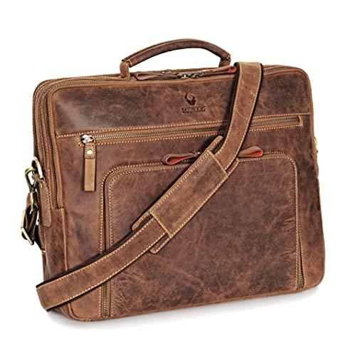 DONBOLSO® Laptoptasche San Francisco 15,6 Zoll Leder I Umhängetasche für Laptop I Aktentasche...