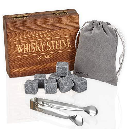 GOURMEO Whisky Steine aus natürlichen Speckstein in hochwertiger Holzbox I wiederverwendbare...