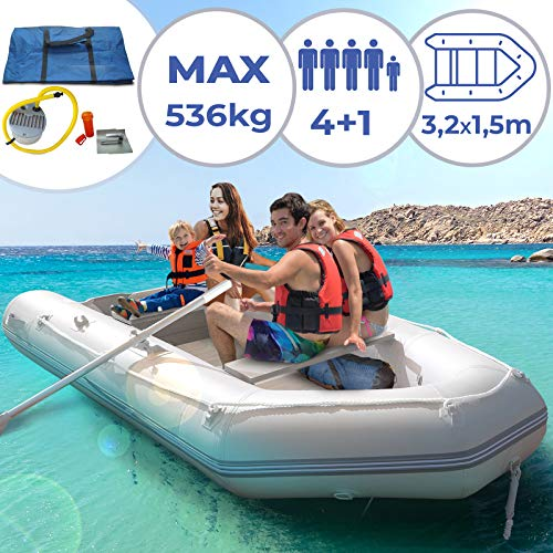 Schlauchboot für 4 Personen - 320 x 152 cm, 2 Alupaddel, Fußluftpumpe, bis 536 kg, mit Aluboden,...