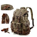 BYEON Mens Waxed Canvas Rucksack Leder Rucksack für Männer Wax Leather Rucksäcke Travel Vintage...