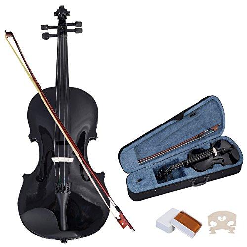 COSTWAY 4/4 Violine Geige Massivholz mit Koffer, Bogen Kolophonium und Saite, Fichte Ahorn, für...