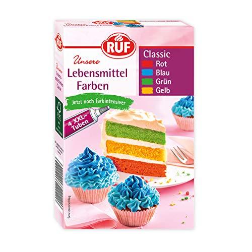 RUF Lebensmittel-Farben bunt & farbintensiv, 4 Tuben in den Farben rot, blau, grün und gelb zum...