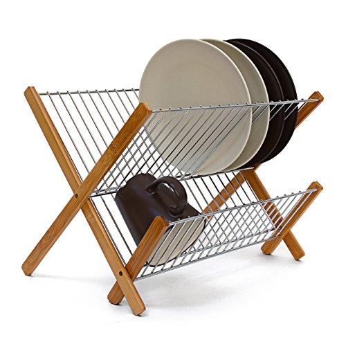 Relaxdays Abtropfgestell CROSS, zum Klappen, für Teller, Tassen, Bambus, Metall, Abtropfständer,...