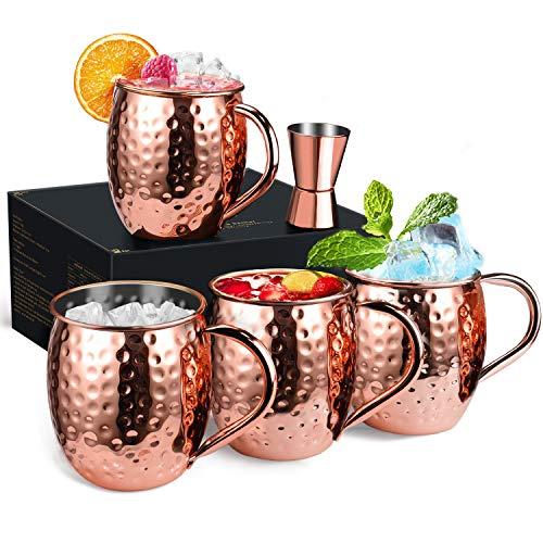 Wellead Moscow Mule Becher, 4 Kupferbecher Großartig für Jedes Gekühlte Getränk, Kupfertassen...