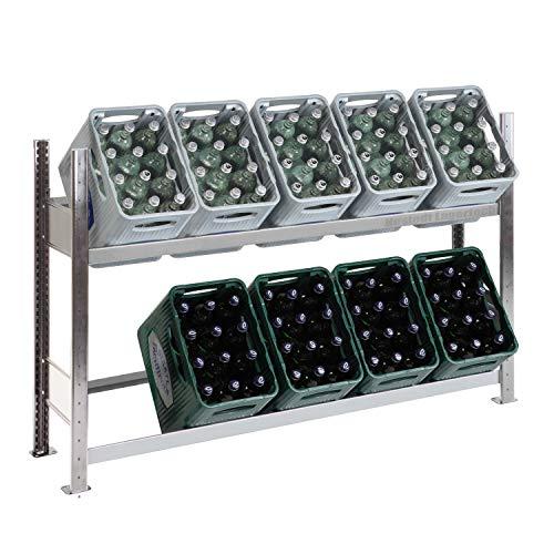Getränkekistenregal für 10 Kästen, 100 x 156 x 34 cm, verzinkt, 2 Ebenen mit je 150 kg Tragkraft,...