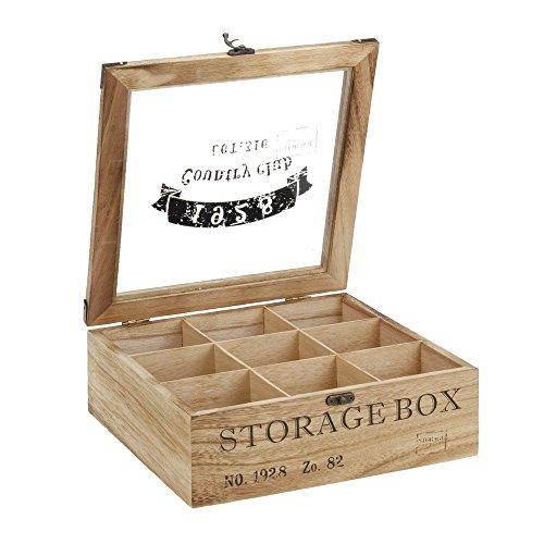 ToCi Teebox Holz Natur mit 9 Fächern | Quadratische Teekiste Teedose Teebeutel Box Aufbewahrung |...