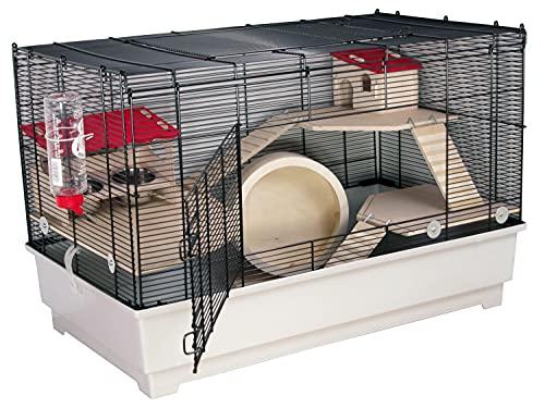 PETGARD Mäuse- und Hamsterkäfig, Nagerhaus mit 3 Holzetagen, Komplettset mit Laufrad und weiterem...