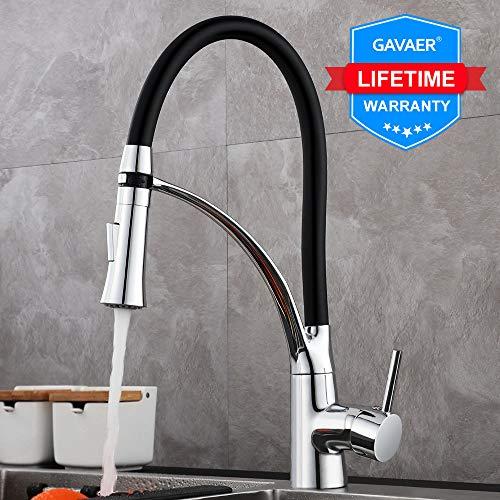 GAVAER Küchenarmatur, 360° Drehbarer Wasserhahn Küche mit Herausziehbarer Dual-Spülbrause,...