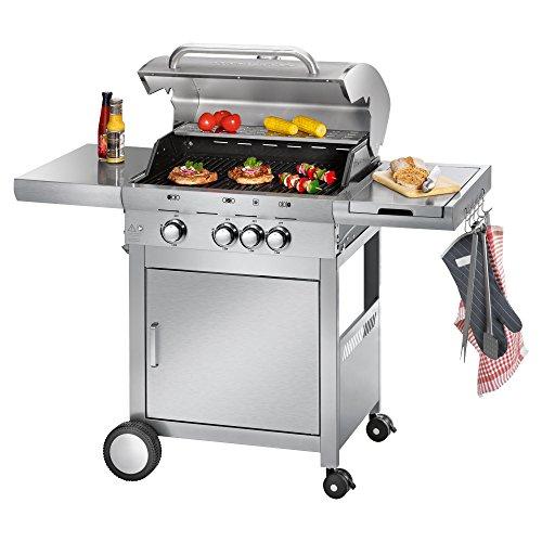 Profi Cook PC-GG 1058 Gasgrill, 3 Edelstahlbrenner + 1 zusätzliche Kochstelle, 3 Heizzonen für...