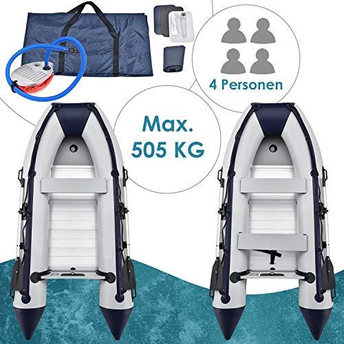 ArtSport Schlauchboot grau mit Aluboden – aufblasbar- für 4 Personen- 3,20 Meter – Paddelboot...