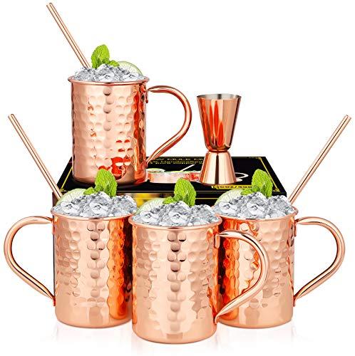 Hossejoy Moscow Mule Becher 4er Set, Kupferbecher mit 4 Trinkhalme & 1 Messbecher in Geschenkbox,...