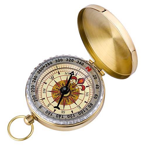 ARINO Taschenkompass Wasserdichter Messingkompass Marschkompass Klassischer Sprungdeckel Compass mit...