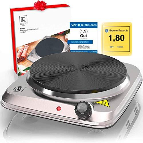 M. ROSENFELD HOME Premium Kochplatte Einzeln 1500W Edelstahl Herdplatte Elektrisch mit großem...