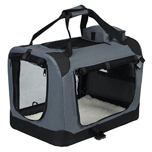 EUGAD 0112HT Hundebox faltbar Hundetransportbox Auto Transportbox Reisebox Katzenbox Grau 60 x 42 x...