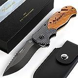 BERGKVIST K19 RED Klappmesser Outdoor I Taschenmesser mit Echtholzgriff geeignet für Camping &...