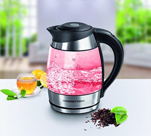 GOURMETmaxx 09861 LED Glas Wasserkocher Mit Innenbeleuchtung & Temperatureinstellung | BPA Frei |...