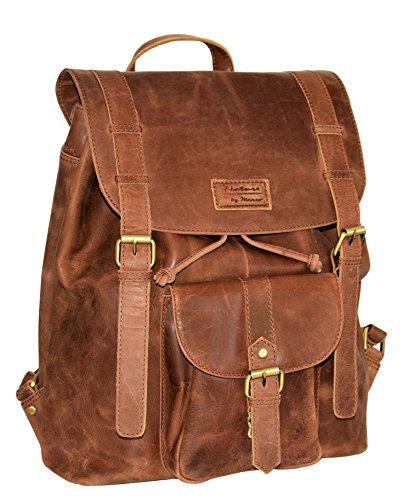 Menzo Leder-Rucksack aus echten Büffelleder, Ideal für die Arbeit, Schule, Urlaub und Handgepäck,...