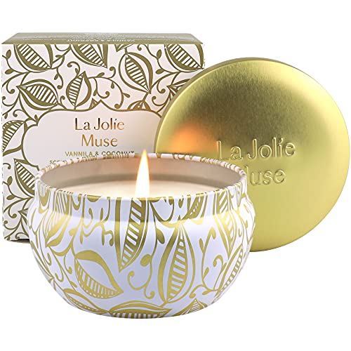 La Jolíe Muse Duftkerze Vanille Kokosnuss, 100% Sojawachs Kerze in Dose Geschenk 185g 45Std