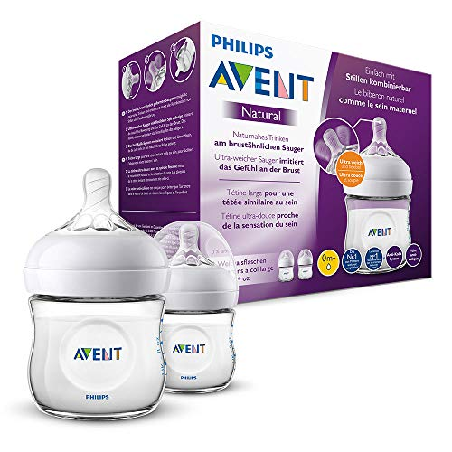Philips Avent Natural Flasche SCF030/27, 125ml, naturnahes Trinkverhalten, Anti-Kolik-System,...