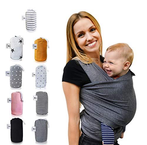 Fastique Kids® Tragetuch - elastisches Babytragetuch für Früh- und Neugeborene + Anleitung (5,2m...