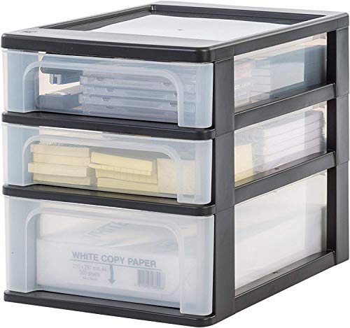 Iris Ohyama Schubladenschrank, Schubladencontainer, 3 Schubladen (2 x 4L + 1 x 7L), Format A4,...