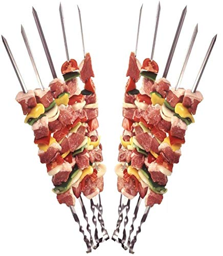 12 Grillspieße Schaschlikspieße aus Edelstahl 60cm | Fleischspieße für BBQ & Grill | Kebab...