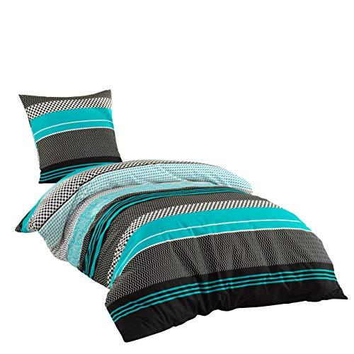 Sentidos Bettwäsche-Set 2-teilig Renforcé Baumwolle 135x200 cm mit Reißverschluss Bett-Bezug,...