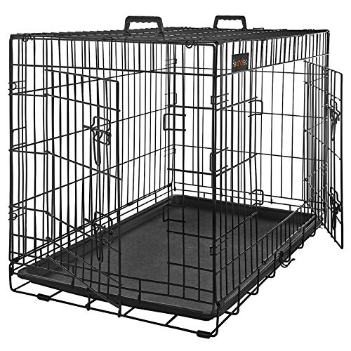 FEANDREA HundeKäfig 2 Türen Hundebox Gitterbox Transportbox faltbar DrahtKäfig Katzen Hasen Nager...