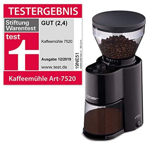 Cloer 7520 Elektrische Kaffeemühle mit Kegelmahlwerk, Stiftung Warentest gut, 2-12 Tassen, 300 g...