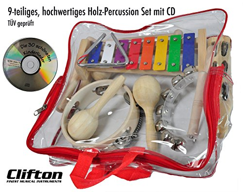 Clifton Kinder Percussion Set aus Holz 9 teilig inkl. Handtrommel, Schellenbaum, Maracas,...