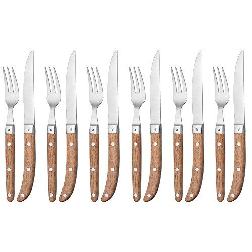 WMF Ranch Steakbesteck-Set 12-teilig Steakgabel Steakmesser, für 6 Personen Spezialklingenstahl...