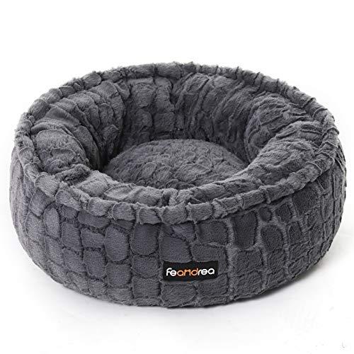 FEANDREA Hundebett, Katzenbett, rund, weicher Plüsch, 50 cm, grau PGW056G01