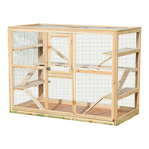 Melko Kleintierkäfig aus Holz, 120 x 60 x 90 cm, inklusive 6 Rampen,Nagervilla Hamsterkäfig...