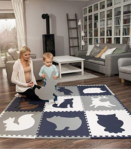 Hakuna Matte große Puzzlematte für Babys 1,8x1,8m – 9 XXL Platten 60x60cm mit Tieren – 20%...