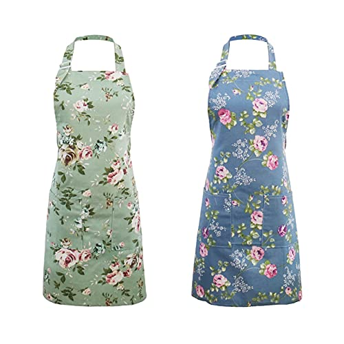 Küchenschürze für Frauen, 2 Stück, Florale Schürzen mit Großen Taschen, Vintage Schürze für...