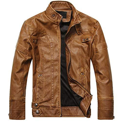 GITVIENAR Herren Lederjacke Top-Modell Fashion Winterjacke/Herbstjack PU-Lederjack discothe Style...