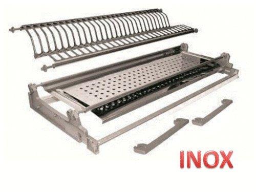 Inox Einbau-Abtropfgestell mit Klemmfeder-Befestigung, 56cm, Edelstahl, mit Rahmen, in Italien...
