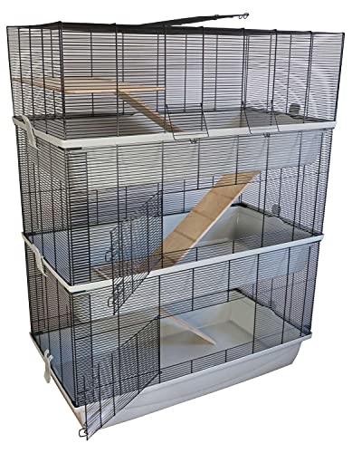 PETGARD Mäuse- und Hamsterkäfig, mehrstöckiges und großes XXL-Nagerhaus mit 3 Ebenen und 3...