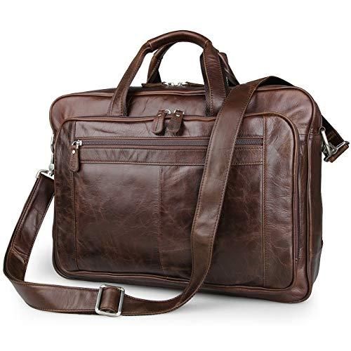 UBaymax Leder Aktentasche Laptoptasche Herren, Vintage Ledertasche Businesstasche für bis 17 Zoll...