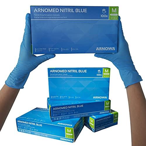 ARNOMED Nitril Einweghandschuhe M, puderfrei, latexfrei, 100 Stück/Box, Einmalhandschuhe, Blaue...