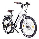 NCM Milano 48V, 26' Urban Trekking E-Bike Elektrofahrrad Pedelec, 250W 13Ah 624Wh, weiß, schwarz...